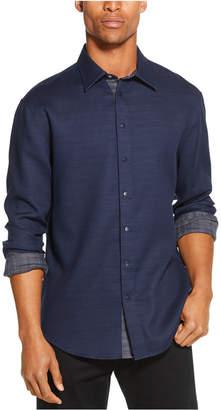 DKNY Men Reversible Solid & Plaid Shirt