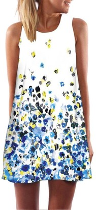MRULIC Summer Elegant Ladies Women Plus Size Dress Vintage Boho Summer Sleeveless Holiday Beach Printed Short Mini Dress (Yellow UK-16/CN-L)