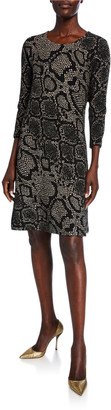 Caroline Rose Plus Size Snake-Print 3/4-Sleeve Ottoman Knit Dress
