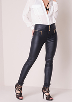 Missy Empire Dulce Navy Leather Skinny Biker Jeans