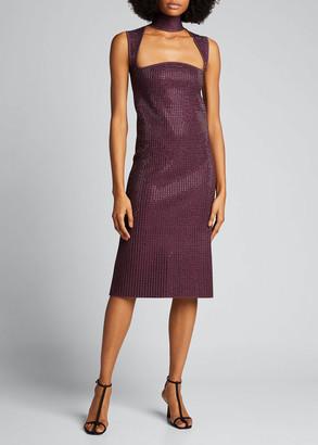 Bottega Veneta Mirrored Jersey Keyhole-Front Dress