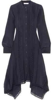 Chloé Lace-trimmed Silk Crepe De Chine Midi Dress