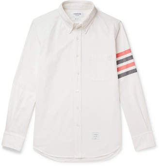 Thom Browne Button-Down Collar Striped Cotton-Flannel Shirt