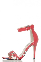 Quiz Red Blossom Print Barely There Sandals