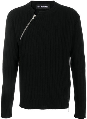 Les Hommes Ribbed-Knit Zipped Jumper