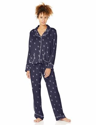 Splendid Women's Button Up Long Sleeve Top and Bottom Classic Pajama Set Pj