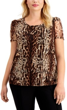 INC International Concepts Inc Plus Size Printed Puff-Sleeve Top, Created for Macy's
