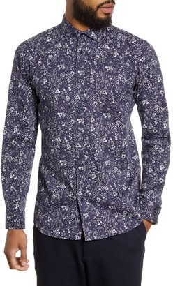 Selected Freddie Slim Fit Floral Print Button-Up Shirt