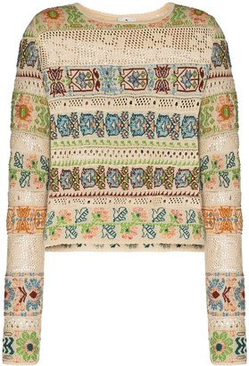 Etro Cropped Open-Knit Jumper