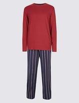 M&S Collection Pure Cotton Striped Pyjama Set