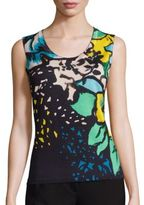 Escada Printed Wool & Silk Shell