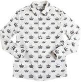 Dolce & Gabbana Crowns Printed Cotton Poplin Shirt