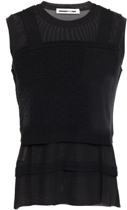 McQ Crochet-knit Cotton And Stretch-mesh Top