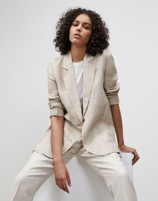 Lafayette 148 New York Plus-Size Eaton Blazer In Italian Etched Linen