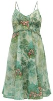 La Costa Del Algodón La Costa Del Algodon - Regine Flamingo-print Cotton Dress - Womens - Green Print