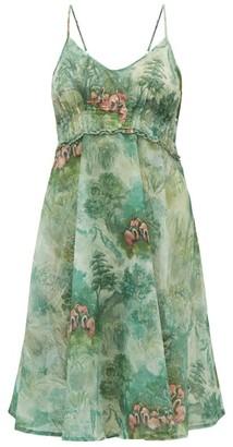 La Costa Del Algodón La Costa Del Algodon - Regine Flamingo-print Cotton Dress - Womens - Green Print