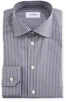 Eton Slim-Fit Striped Dress Shirt, Navy/White
