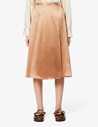 Reformation Jones wrap-over silk-satin midi skirt