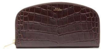 A.P.C. Half Moon Crocodile-effect Leather Wallet - Womens - Brown