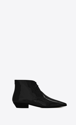 Saint Laurent Flat Booties Jonas Laced Ankle Boots In Patent Leather Black 2