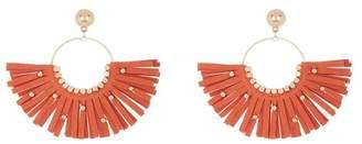 Panacea Orange Suede Studded Fringe Hoop Earrings