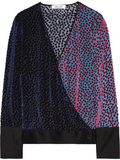 Diane von Furstenberg Wrap-effect Satin-trimmed Flocked Chiffon Blouse - Light blue
