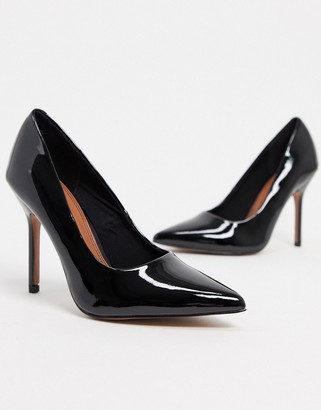 ASOS DESIGN Phoenix pointed high heeled court shoes in black patent