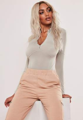 Missguided Tall Sand Slinky Corset Detail Bodysuit