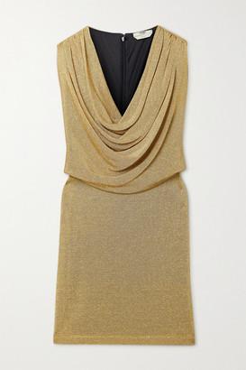Fendi Draped Metallic Knitted Mini Dress - Gold