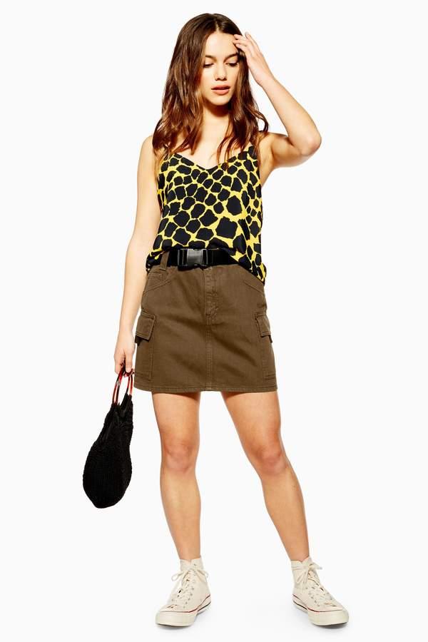 Topshop PETITE Khaki Clip Belt Denim Skirt