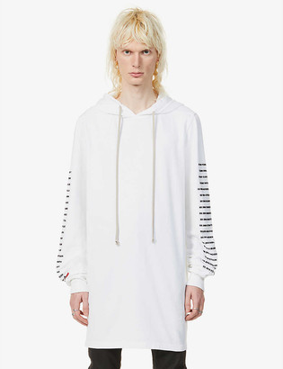 Rick Owens Text-print relaxed-fit cotton-jersey hoody