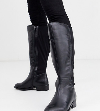 Simply Be Wide Fit Simply be extra wide fit knee high boot with stretch back in black