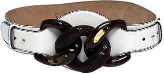 Roberto Cavalli White Patent Leather Wide Belt 95CM