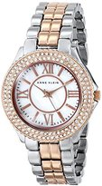 Anne Klein Women's AK/1463MPRT Swarovski Crystal Accented Rose Gold-Tone and Silver-Tone Bracelet Watch