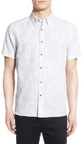 Ted Baker &Subzero& Modern Slim Fit Floral Short Sleeve Sport Shirt