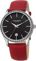 Akribos XXIV Women's Quartz Stainless Steel and Leather Casual Watch, Color:Red (Model: AK964RD)