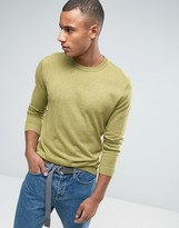 Asos Crew Neck Sweater in Green Cotton