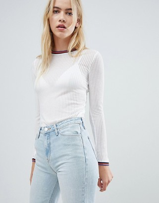 Lee Ribbed Long Sleeve Top with Sports Neckline
