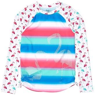 Hatley Fancy Flamingos Long Sleeve Rashguard (Toddler/Little Kids/Big Kids) (White) Girl's Swimwear