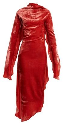 Paula Knorr - Relief Waterfall-ruffled Silk-blend Velvet Dress - Womens - Pink