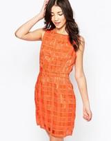 Lavand Textured Grid Shift Dress