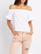Charlotte Russe Poplin Ruffle-Trim Off-The-Shoulder Top