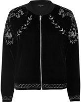 River Island Womens Black velvet embroidered bomber jacket