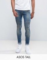 Asos TALL Super Skinny Jeans With Double Zip And Biker Details In Mid Blue Wash