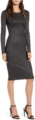 Chelsea28 Metallic Long Sleeve Bodycon Dress