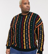 Asos Design ASOS DESIGN Plus oversized jumper with vintage vertical design-Multi