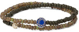 Luis Morais Glass Bead, Sapphire And Gold Wrap Bracelet - Army green