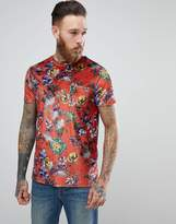 Asos T-shirt In Floral Velour With Pocket