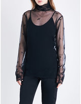 Ann Demeulemeester High-neck floral-embroidered cotton-tulle top