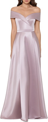 Xscape Evenings Lamour Cross Off the Shoulder Gown